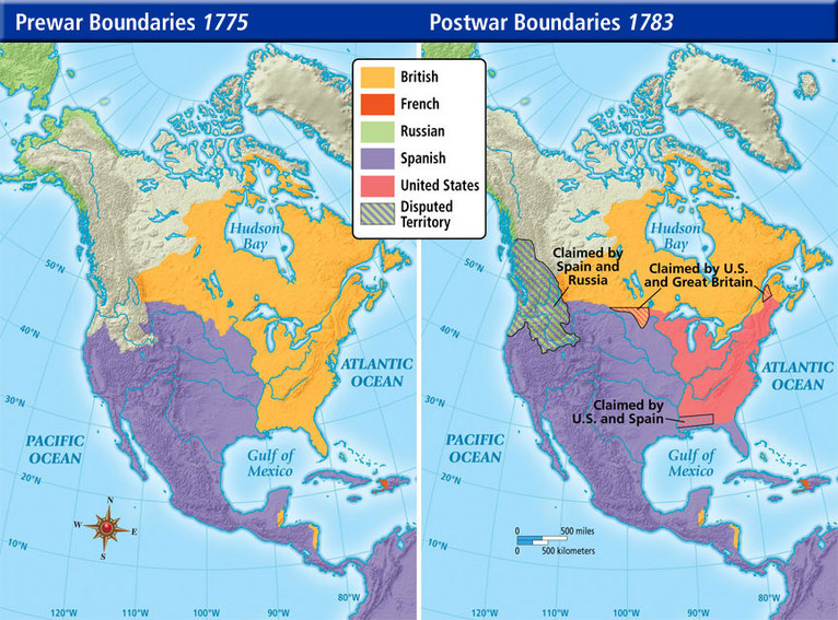 Pre-War and Post-War borders in Northern America in 1775-1783 ...
